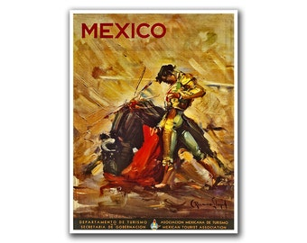 Mexico Travel Poster Wall Art Bullfighter Print Sports Mexican Decor (H130)