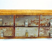 Handmade Small CABINET with 6 METAL DRAWER Fronts Repurposed Salvaged Materials