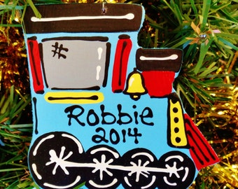 U CHOOSE Name & Date Personalized TRAIN Engine ORNAMENT Christmas Holiday NameKids Children Handcrafted Handpainted