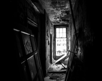 Let the Light In- Fine Art Black and White Photograph, Taken in an Abandoned Detroit Home.