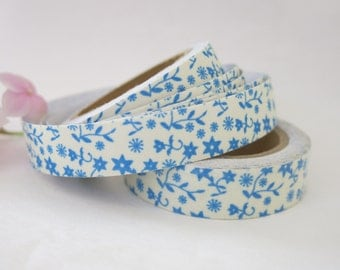 Blue Floral Fabric Tape / Adhesive Decoration Fabric Tape  FT018