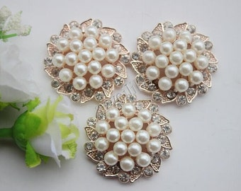 5pcs Pearl Buttons,Rhinestone Button for Jewelry /Garment Accessories