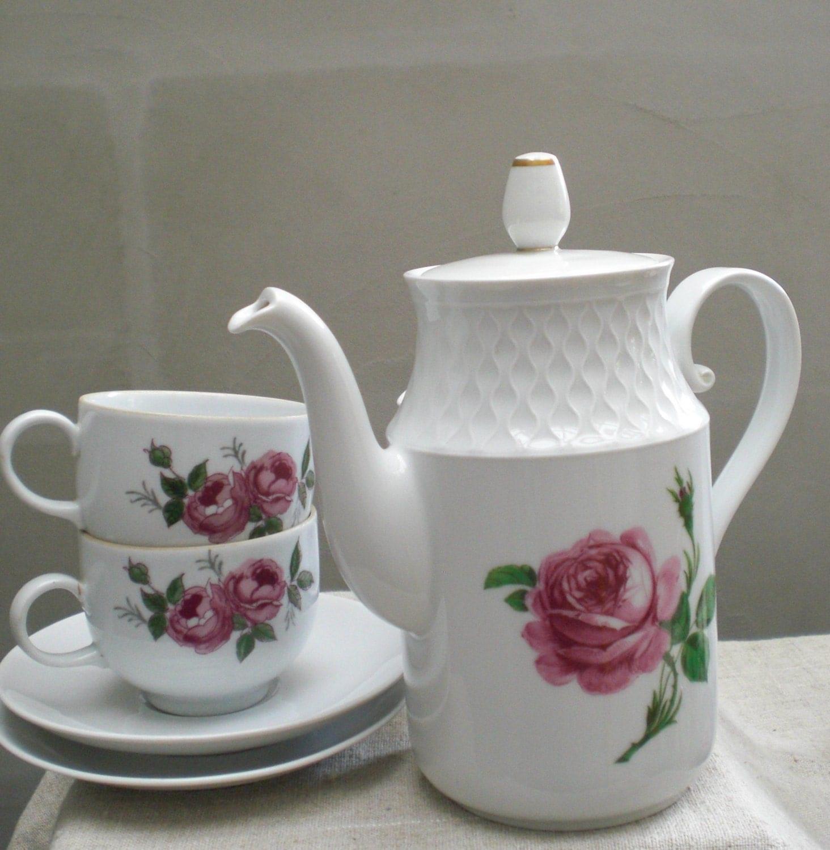 pink rose teapot coffee pot white porcelain tea pot floral. Black Bedroom Furniture Sets. Home Design Ideas