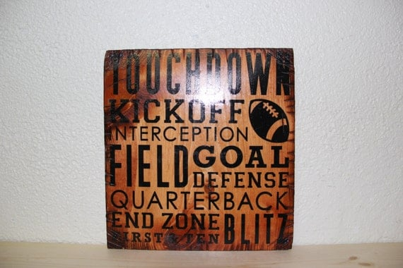Wooden Rustic-Style Football Sign (Gunstock)