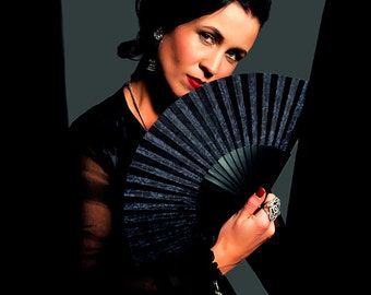 Designer Hand Fan, The Lisa - Black & Grey Wallpaper