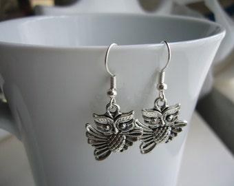 Owl Earrings - Antique Silver Owl Earrings - Owl  Charm Earrings - Miniature Owl- Nickel Free