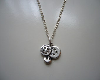 Buttons Necklace - Antique Silver Buttons Necklace - Buttons Pendant Charm Necklace - Buttons Necklace- Miniature Buttons- Nickel Free