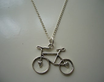 Bicycle Necklace - Antique Silver Bicycle Charm Necklace - Miniature Bicycle Pendant Necklace - Nickel Free