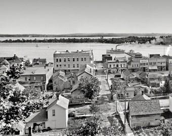 Harbor Springs, Michigan panoramic 1906. Original Archival restoration print..