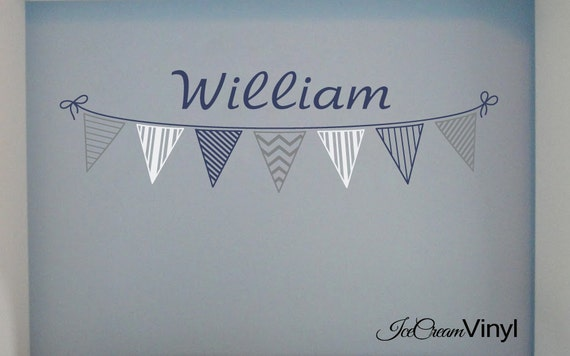 Banner with Name Wall Decal for Playroom Boys Bedroom Nursery Vinyl Home Decor