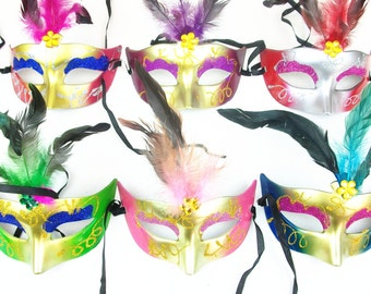 Bulk 36 pcs Sparking Costume Masquerade Feather Eye Mask Party/Ball/Wedding Halloween mask