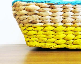 Hand Painted Basket - Small Aqua/Yellow
