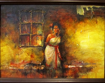 "Indian ART, Original Painting, Acrylic on Canvas, Title - ""Santhali Lady"","