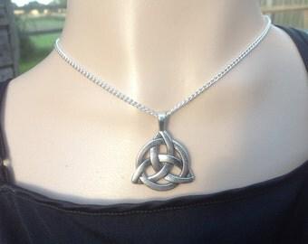 Silver Celtic Knot Triquetra Pendant - Silver plated Chain - Pagan - Celt