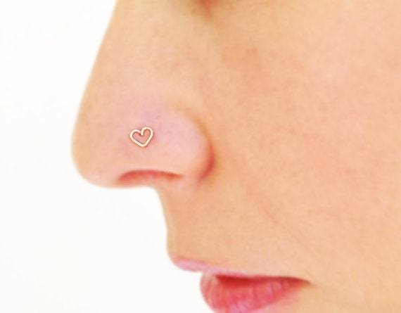 Tiny nose stud tiny heart nose stud gold nose by ...