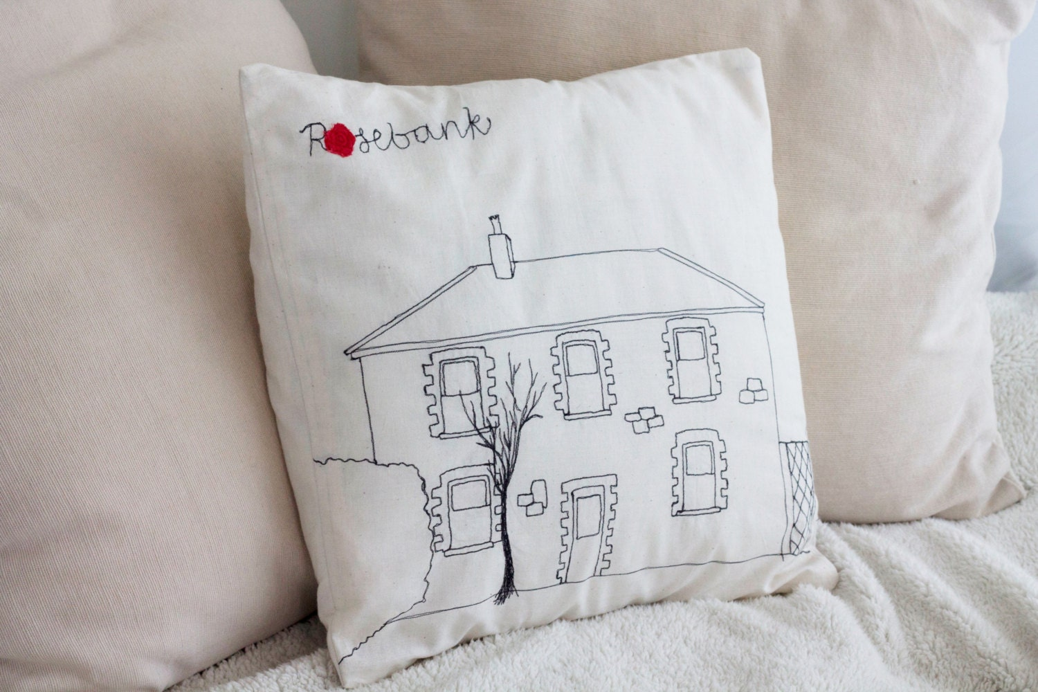 Personalized Embroidered Throw Pillows : Custom House Pillow/Throw Pillow Cover/Embroidered