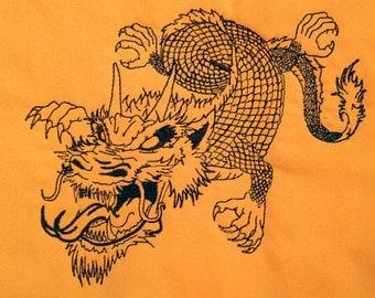 Black outline dragon