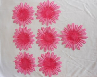 4.75 Inch Pink Fabric Flowers - 7 Count
