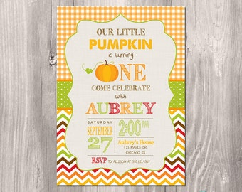 Fall Birthday Invitation - Pumpkin Birthday Invitation - Printable Fall Invitation - Printable Pumpkin Invitation - Pumpkin Party