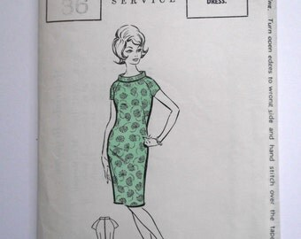 Vintage Pattern.Mod 1960s wiggle dress pattern with roll/crew neckline. Uncut unused sewing pattern for a Wiggle Dress 1960s Bust size 36
