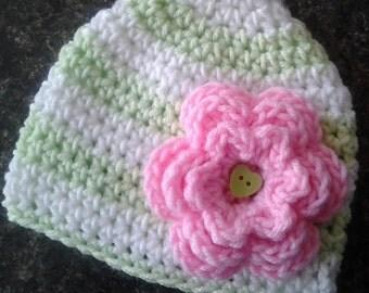 Baby Girl Hat, Baby Hat, Crochet Beanie hat,Crochet Flower Hat, Crochet Baby Hat, Sizes 0-12 Months