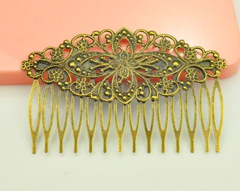 Hair Combs Bronze 81x52mm 8PCS, Wholesale Antique bronze plated Filigree hair comb Setting(14teeth).