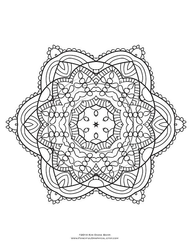 kaleidoscope coloring pages pdf - mandala and kaleidoscope coloring page by fancifulgraphical