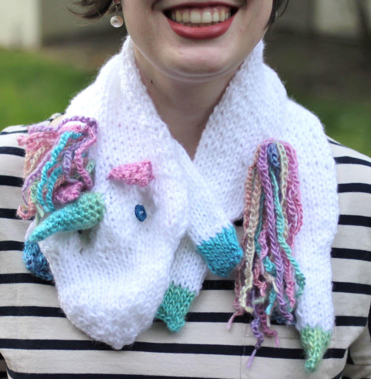 Crochet Unicorn Scarf : White and Rainbow Unicorn Scarf by TrebleKnit on Etsy
