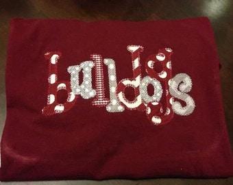 Bulldogs Applique Tshirt // Maroon Bulldogs Tshirt // MSState Bulldogs Tshirt