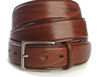 Striped Leather Belt Bull