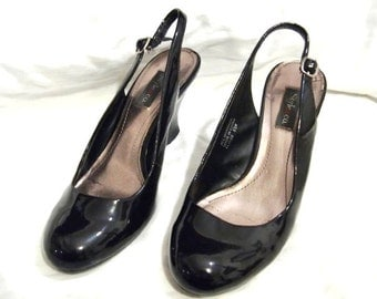 Vintage Black Patent  Wedge Shoes Size 6 1/2 W USA made by Style Co all Man made Nice and Clean