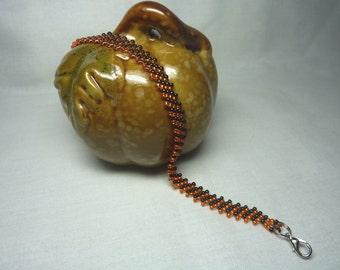 Halloween Diagonal Peyote Seed Bead Bracelet Orange Black
