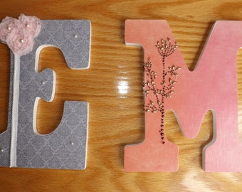 9 Inch Decorative Wooden Nursery Wall Letters - Ornate Embellishments - Custom made to various color schemes