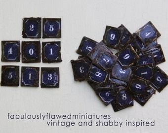 Miniature Dollhouse Vintage Inspired Tin Signs - Paris Street Numbers