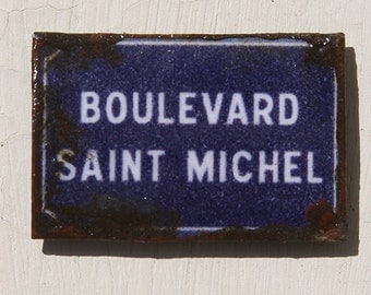 Miniature Dollhouse Tin Paris Street Sign - Boulevard Saint Michel