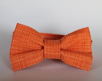 Two toned modern orange bow tie, baby, boys, adjustable velcro closure