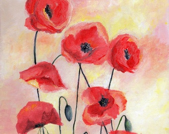 Red Poppies, Summer, Art Print, Flowers, Nature, Floral Art, Red, Yellow, Fine Art