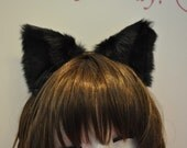 Black fur inner black CAT  ears HEADBAND . headband cat ears kitty ears set Costume Cosplay Party