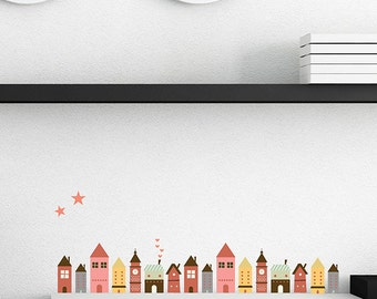 Fairytale Houses Fabric Wall Decal