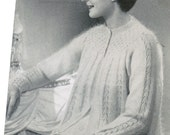 Vintage 1940's Knitted Smocked Angora Bed Jacket PDF / Sizes 34, 36 and 38 / Smocked Angora Sweater Knitting Pattern / Elegant bed jacket