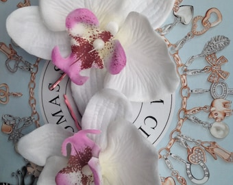 2 x Rock Rockabilly bridal Pink & White Orchid hair flower grip slide
