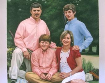 Custom oil portrait painting-Family portrait-Pet portrait etc,Four Person / Figures