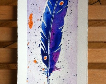 Purple and Orange Speckled Watercolor Feather