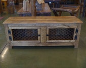 SALE, Rustic bench , coffee table with chicken wire doors, Repurposed wood, recycled pallet wood, entry way bench, chicken wire, pallet