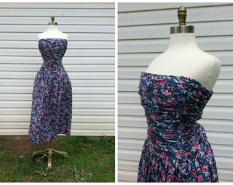 80s Strapless Dress Pin-Up Floral Print Party Dress Sz M (10)