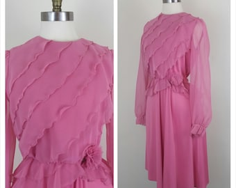 CLEARANCE 70s Secretary Dress Pink with Sheer Sleeves, Ruffles, and Flower at Waist Small