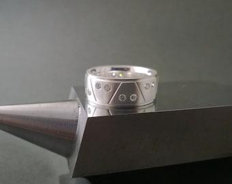 A Frame Diamond Wedding Band in Argentium Sterling Silver- Diamond Wedding Ring, Sterling Silver Diamond Wedding Band, Argentium Ring Band