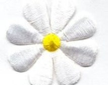 Large White Daisy Yellow Center Flower Iron-on patch Sew on embroidered patches sew-on by capital city patch CO