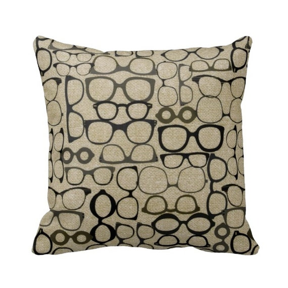 Zippered Glasses Hipster Throw Pillow Cover Neutral 14x14