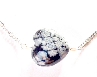 Heart Shaped Snowflake Obsidian Necklace